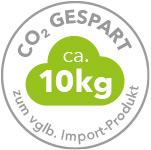 ca. 10kg CO2 gespart zum vglb. Import-Produkt